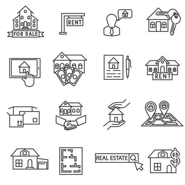 Sale and purchase property icons set Sale and purchase property icons set. Real estate collection. House for sale Thin line design lease agreement stock illustrations
