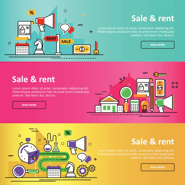 sale and rent service agency real estate colorful banner set - pricing infographics stock illustrations, clip art, cartoons, & icons