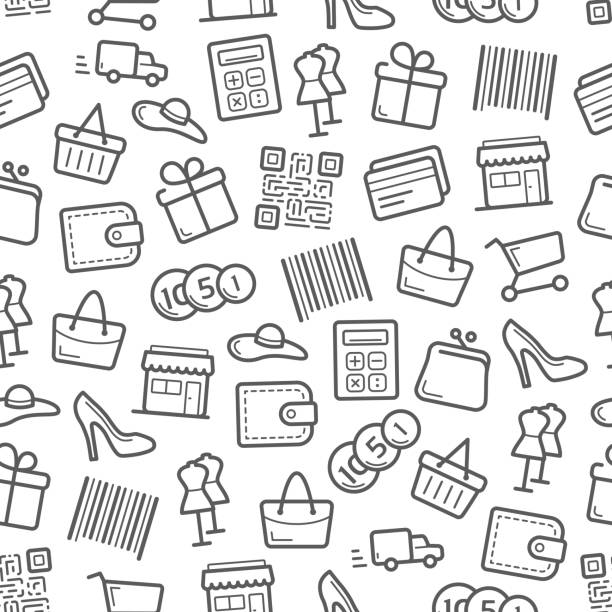 Sale and shopping seamless pattern background vector art illustration