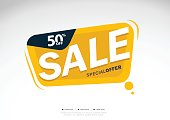 Super Sale and special offer. 50% off. Vector illustration.Theme