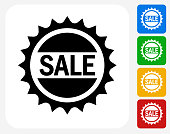 Sale Badge Icon. This 100% royalty free vector illustration features the main icon pictured in black inside a white square. The alternative color options in blue, green, yellow and red are on the right of the icon and are arranged in a vertical column.