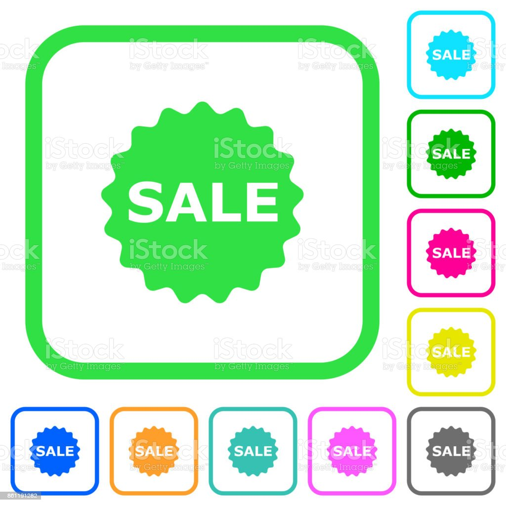 Sale badge vivid colored flat icons icons vector art illustration