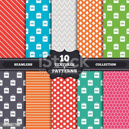 Seamless patterns and textures. Sale bag tag icons. Discount special offer symbols. 30%, 50%, 70% and 90% percent discount signs. Endless backgrounds with circles, lines and geometric elements. Vector