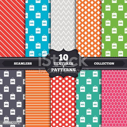 Seamless patterns and textures. Sale bag tag icons. Discount special offer symbols. 10%, 20%, 30% and 40% percent discount signs. Endless backgrounds with circles, lines and geometric elements. Vector