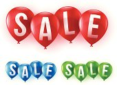 Shiny sale balloons in several colors. EPS 10 file. Transparency used on highlight elements.