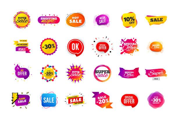 stockillustraties, clipart, cartoons en iconen met verkoop banner badge. speciale aanbieding korting tags. coupon vorm templates. beste voorstel badge. super discount iconen. vector - uitverkoop