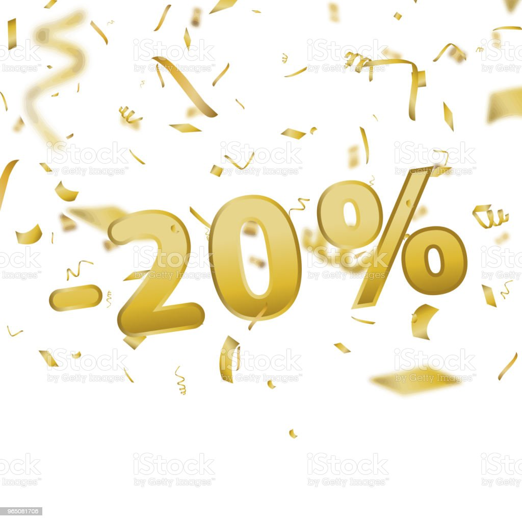 Sale banner card with 20 percent and gold confetti. Vector. royalty-free sale banner card with 20 percent and gold confetti vector stock vector art & more images of azerbaijan