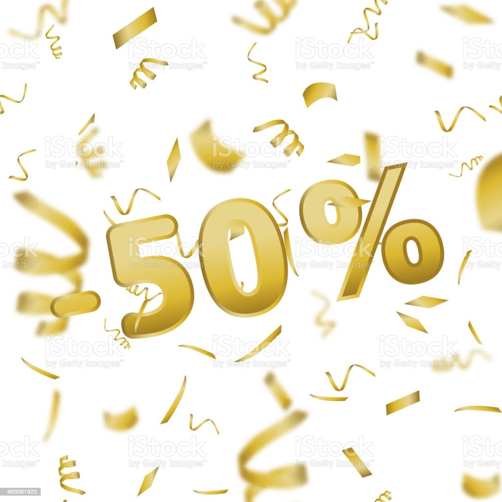 Sale banner card with 50 percent and gold confetti. Vector. sale banner card with 50 percent and gold confetti vector - stockowe grafiki wektorowe i więcej obrazów azerbejdżan royalty-free