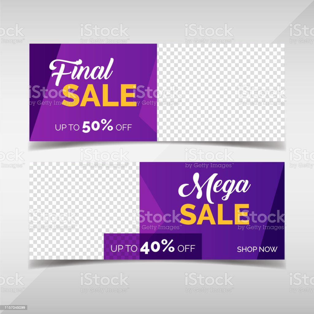Modern sale and discount horizontal banners