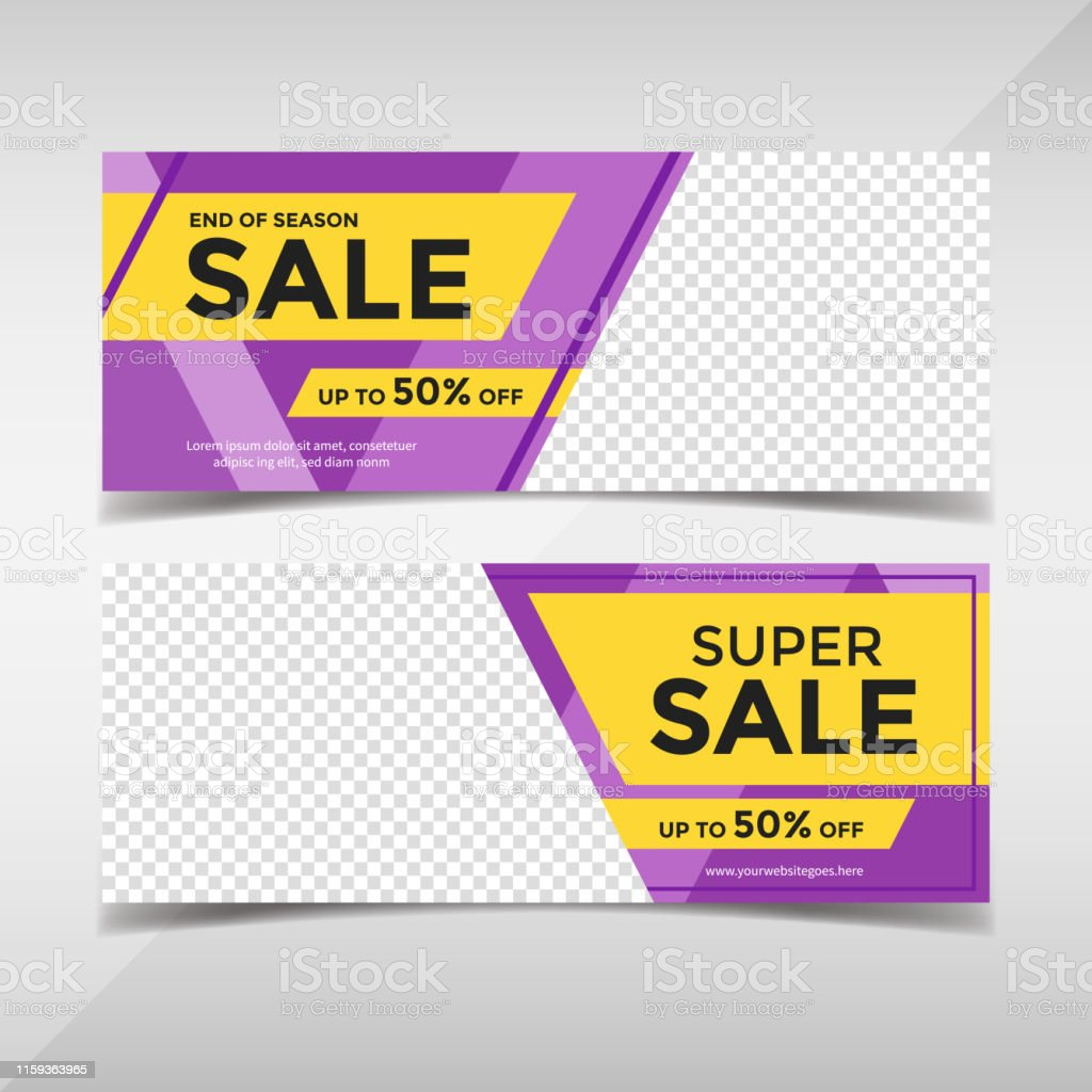 Creative sale and discount horizontal banners