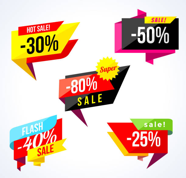 Sale banner collection. Colored stickers and banners. Geometric shapes and confetti. Big set of beautiful discount and promotion banners. Advertising element. Sale banner tag. Vector illustration Sale banner collection. Colored stickers and banners. Geometric shapes and confetti. Big set of beautiful discount and promotion banners. Advertising element. Sale banner tag. Vector illustration. good condition stock illustrations