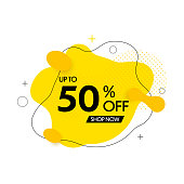 Sale banner design. 50% off. Special offer background. Vector discount banner