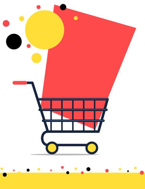 stockillustraties, clipart, cartoons en iconen met ontwerp van de banner van de verkoop met het winkelwagentje - winkelwagentje