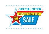 Sale promotion banner - vector concept illustration. Discount 50% off. Abstract layout with star.