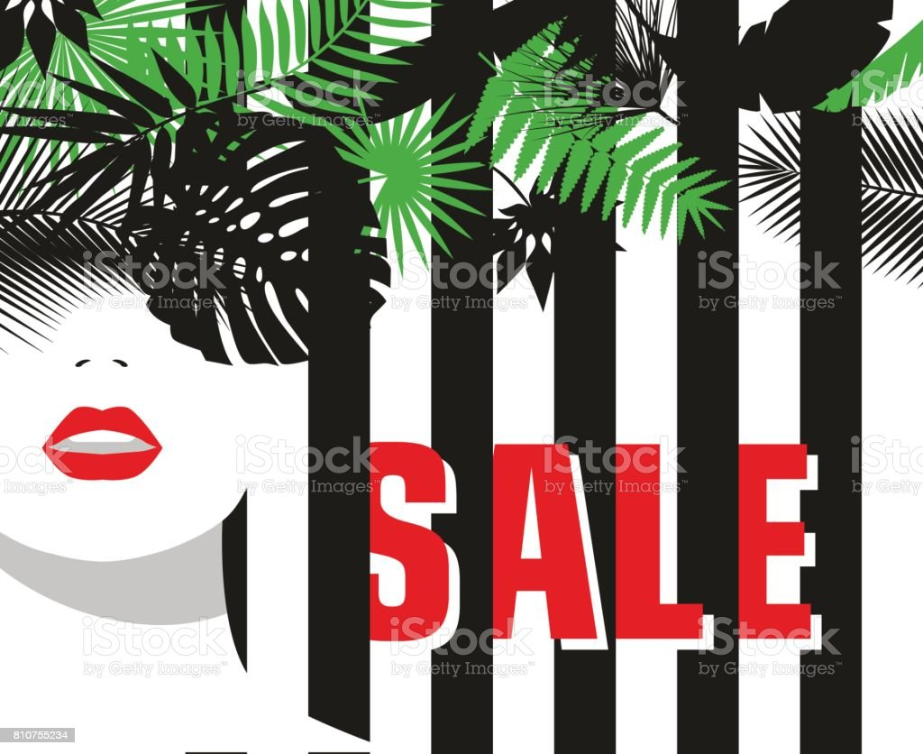 Sale Banner Fashion Girl Tropical Leaves Bold Minimal Style