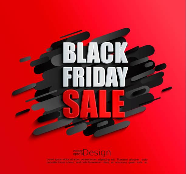 검은 금요일 빨간 배경에 대 한 판매 배너 - black friday stock illustrations