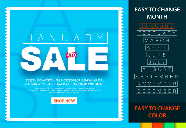 Sale banner for each month. January sale 70%. Easy change month and color. Sale banner for each month. January sale 70%. Easy change month and color. january stock illustrations