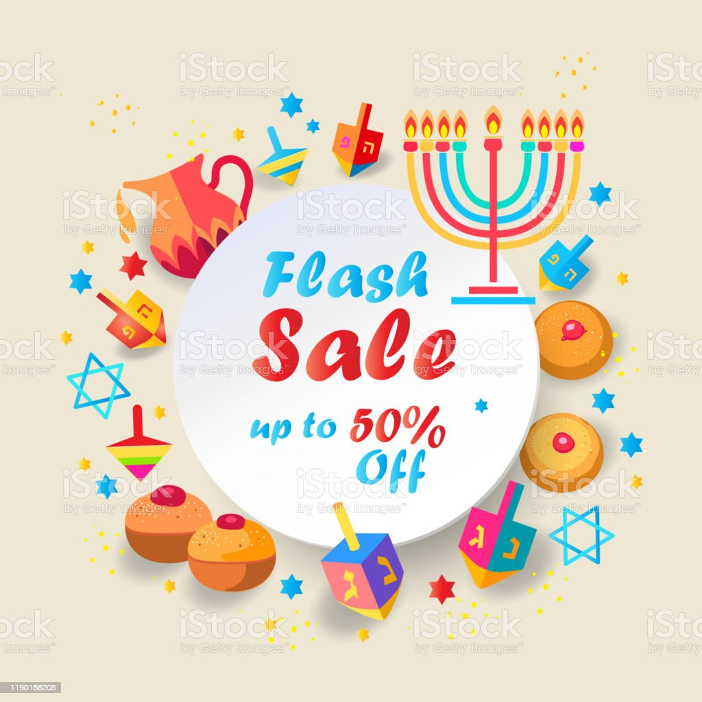 Sale Banner Hanukkah Festival Jewish Holiday Gift Card Stock Illustration Download Image Now Istock