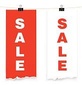 Sale banner on white background. Vector illustration