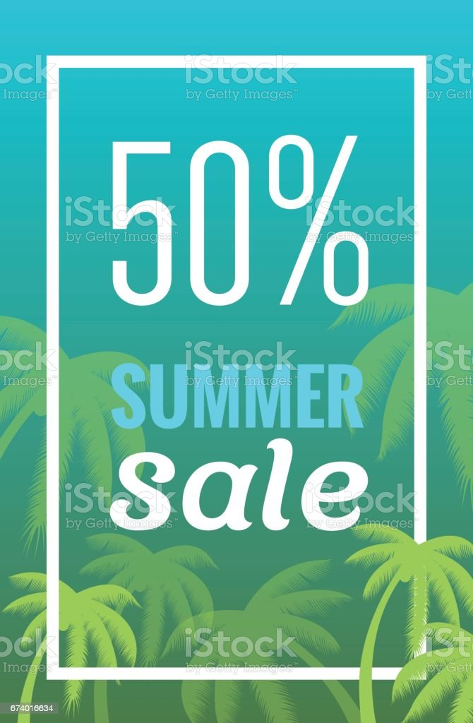 Sale banner, poster with palm leaves, jungle leaf. royalty-free sale banner poster with palm leaves jungle leaf stock vector art & more images of arts culture and entertainment