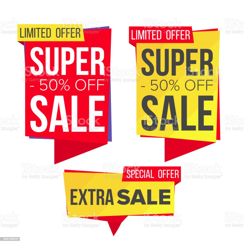 Sale Banner Set Vector. Discount Banners. Sale Banner Tag. Price Tag Labels. Isolated Illustration vector art illustration