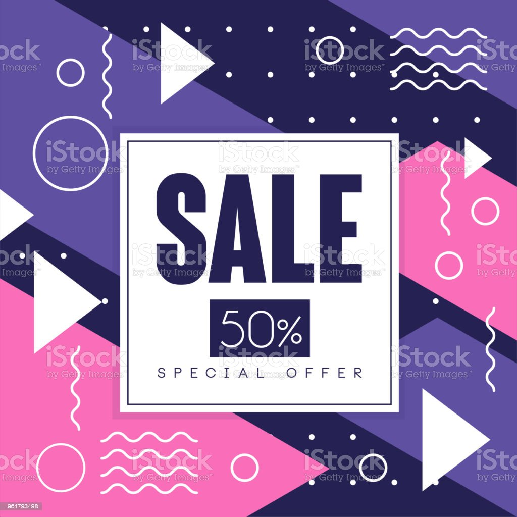 Sale banner, special offer 50 percent off, seasonal discount, colorful advertising poster with geometric shapes vector Illustration royalty-free sale banner special offer 50 percent off seasonal discount colorful advertising poster with geometric shapes vector illustration stock illustration - download image now