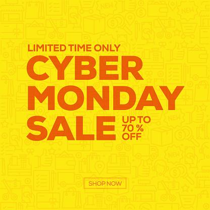 Sale Banner Template Design, Cyber Monday Sale. Vector illustration