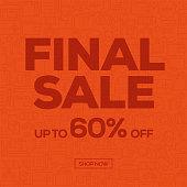 Sale Banner Template Design, Final Sale. Vector illustration