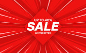 Sale Banner Template Design in comics style. Up to 40. Limited offer. Vector illustration