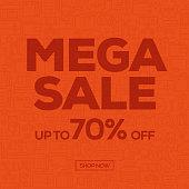Sale Banner Template Design, Mega Sale. Vector illustration