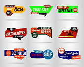 set of Sale banner template design. special offer, end of season , This weekend only. Modern promotion square web poster. vector illustration.