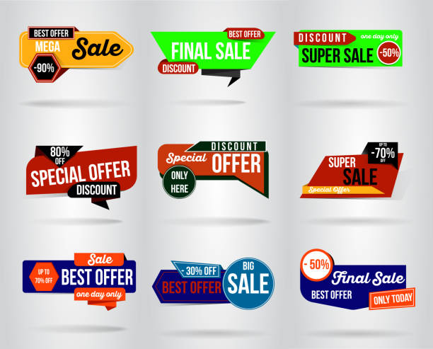 ilustrações de stock, clip art, desenhos animados e ícones de sale banner template design. special offer, end of season , this weekend only - tag vector