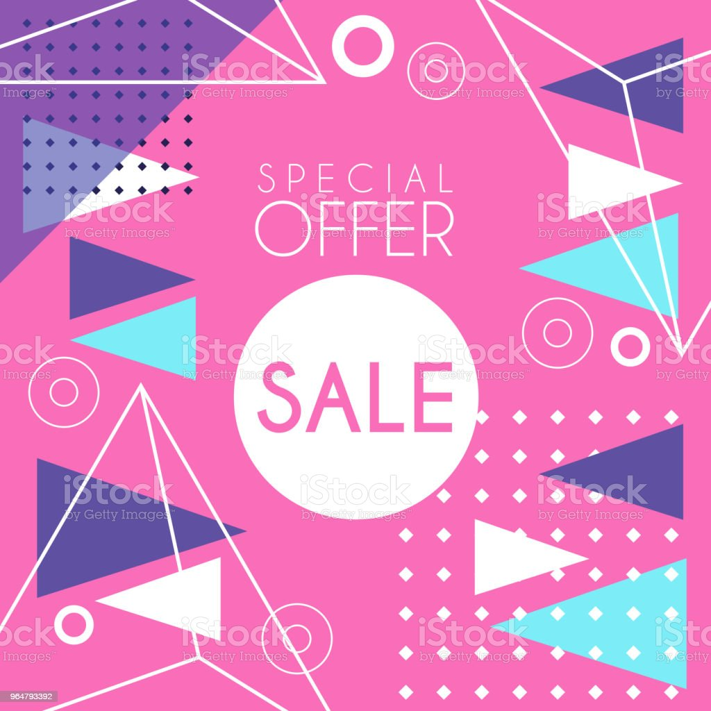 Sale banner template design, special offer seasonal discount, advertising poster with geometric shapes vector Illustration royalty-free sale banner template design special offer seasonal discount advertising poster with geometric shapes vector illustration stock vector art & more images of advertisement