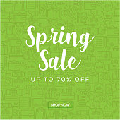 Sale Banner Template Design, Spring Sale. Vector illustration