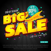 Sale banner template design, Big sale special up to 80% off. vector illustration.