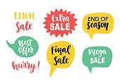 Sale Banner Template elements with hand lettering in speech bubbles. Modern web badges, stickers, price tags set. Vector Illustration