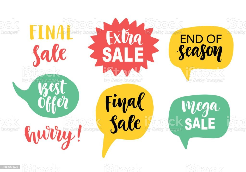 Sale Banner Template elements with hand lettering in speech bubbles vector art illustration