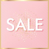 Sale banner template, pink colors and gold confetti. Vector illustration for promotional, marketing, advertising.