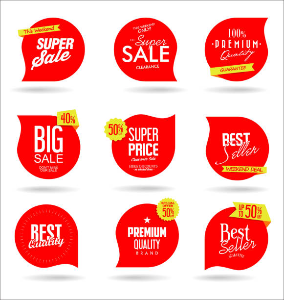 sale banner templates design and special offer tags collection - konsumpcjonizm stock illustrations
