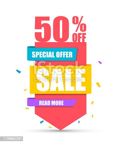 Sale banner. Best offer. Red arrow with 50% discount. Vector illustration