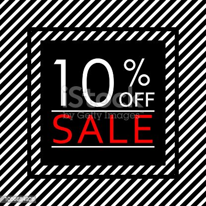 Sale banner with 10 percent price off. Sale and discount tag template. Vector illustration.