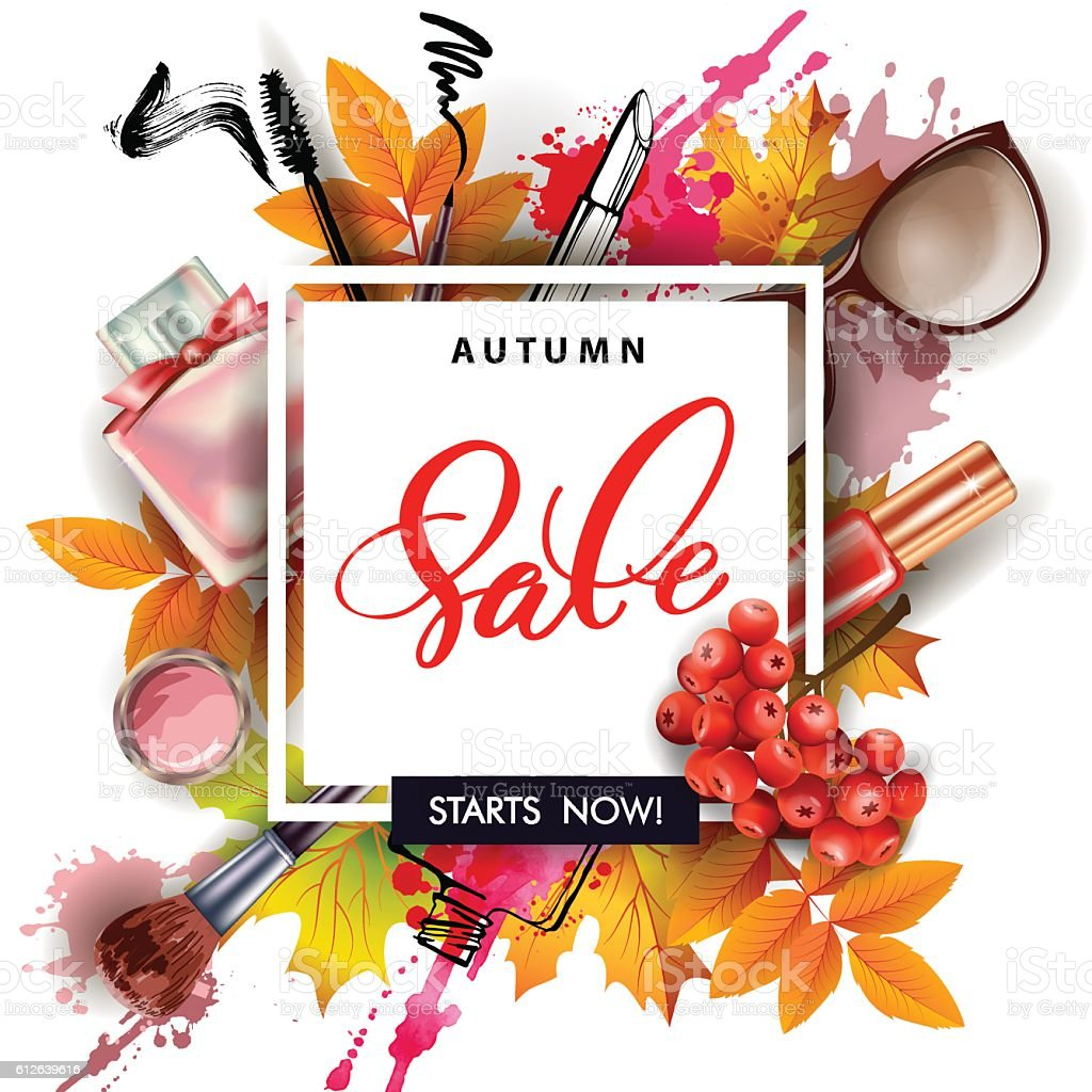 Sale banner with autumn leaves, cosmetics and Rowan berries. ベクターアートイラスト