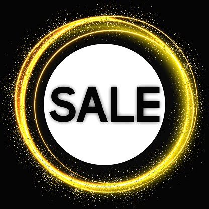 Sale banner with golden  lines