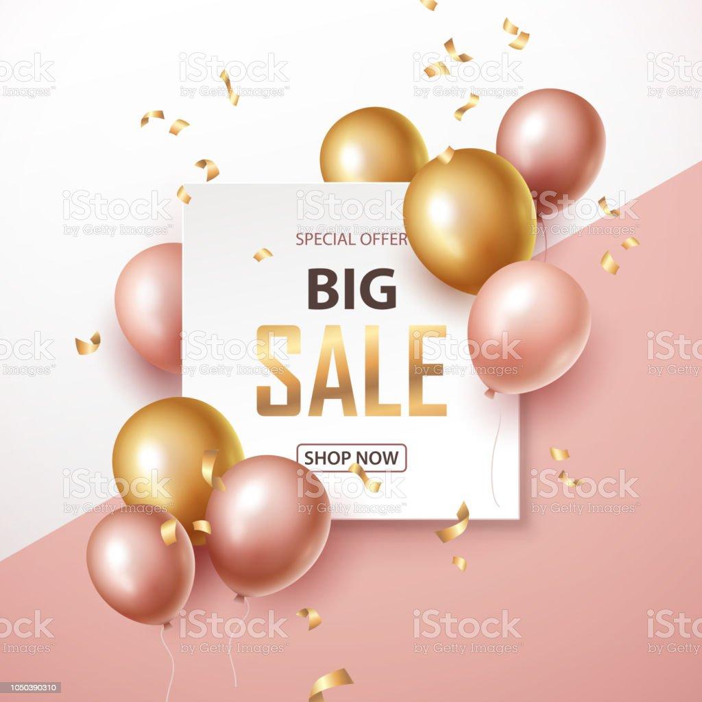 Banner de venda com rosa e ouro balões de flutuação - ilustração de arte em vetor