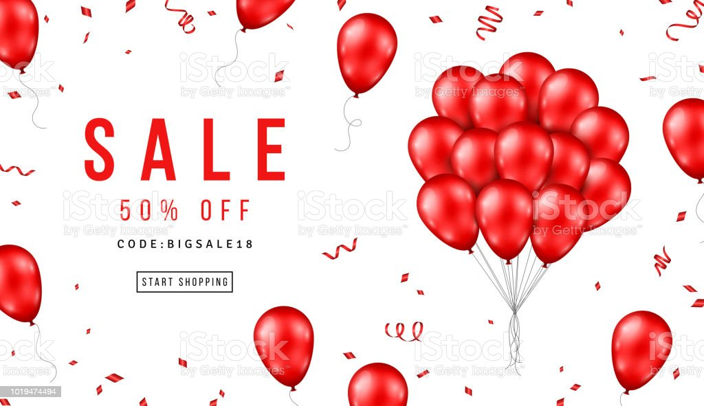 Sale Banner with Red Balloons vector art illustration