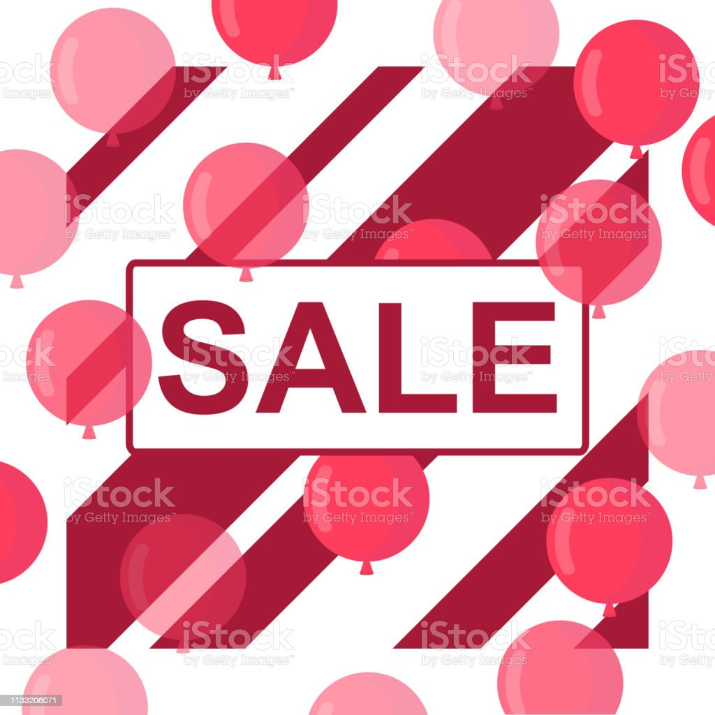 Sale banner with red floating balloons. Realistic vector design for...