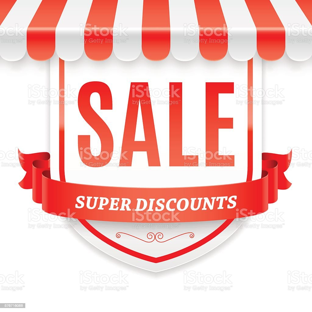Sale Banner with Store Awning vector art illustration