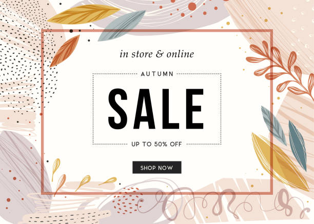 Sale Banner_28 Sale banner template design. autumn drawings stock illustrations