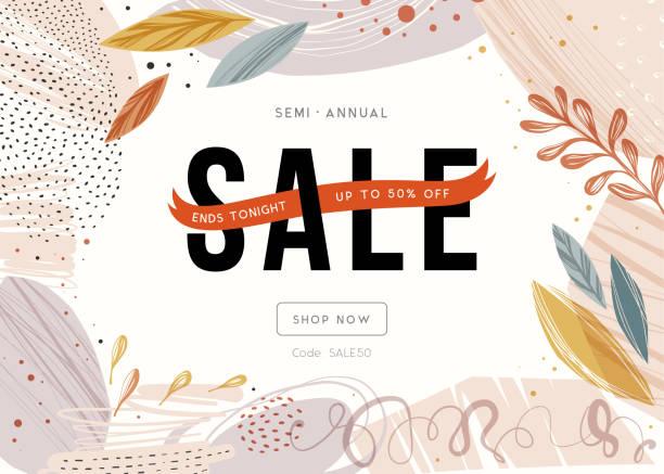 Sale Banner_30 Sale banner template design. autumn backgrounds stock illustrations