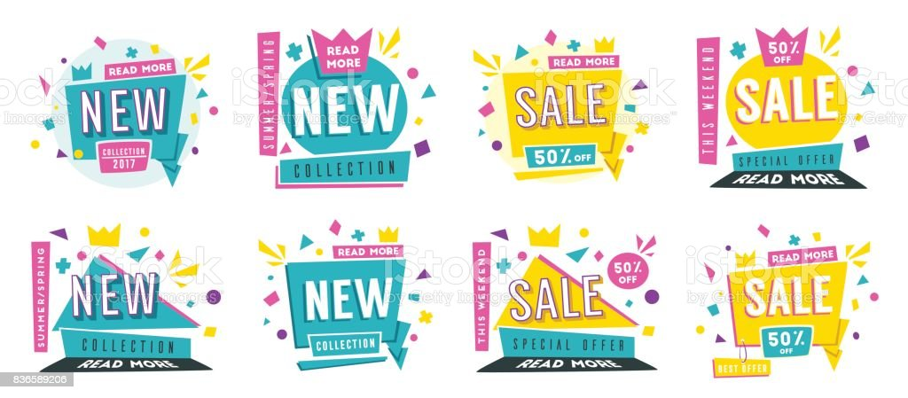 Sale banners. Bright and retro style. Cartoon vector illustration. vector art illustration